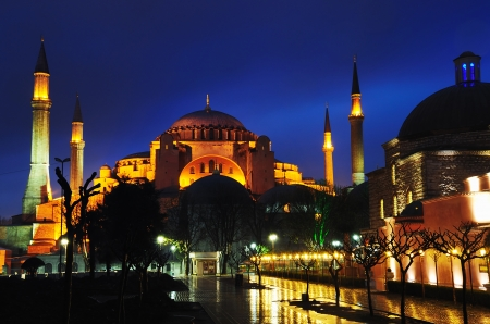 Night view of Hagia Sophia in Istanbul  photo