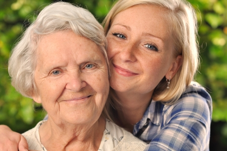 elderly care: Grandmother and granddaughter