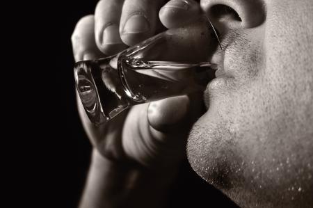 alcoholic man: Man drinks vodka  Alcoholic
