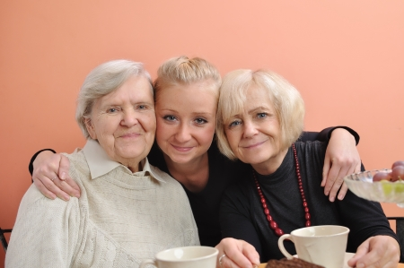 Three woman - three generations on white