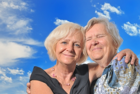very: Senior woman with her mother, outdoors   Stock Photo