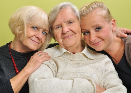 Three women - three generations  Happy and smiling family  photo