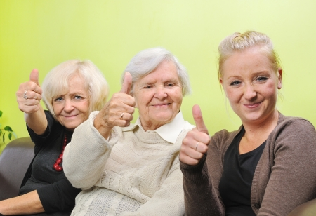Three women - three generations  Happy and smiling family