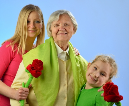 pensionary: Child and grandchild give a gift their grandmother, expressing his care and love for her