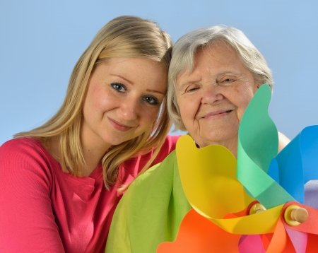 pensionary: Grandmother and granddaughter, senior and young women