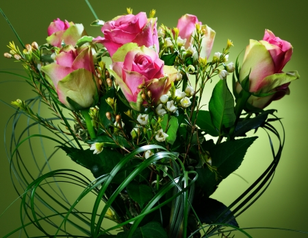 Bouquet of pink roses on green background Stock Photo - 18575171