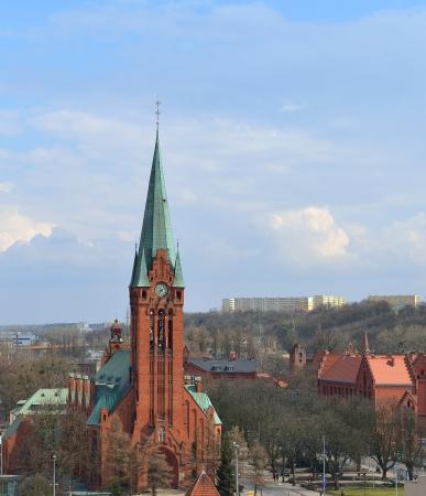 Bydgoszcz, city in Poland  Church of Saint Andrew Bobola, neogothic landmark   Stock Photo - 19532333