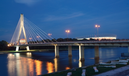 polska: Swietokrzyski Bridge in Warsaw by night  Stock Photo