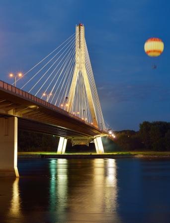 Swietokrzyski Bridge in Warsaw by night  photo