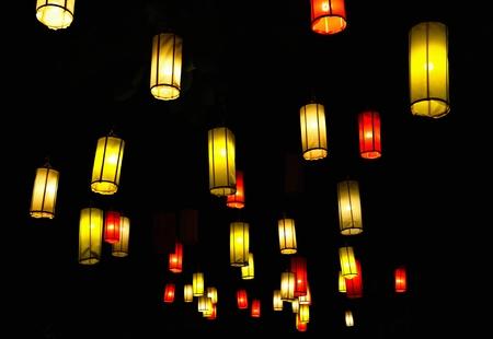 votive candle: Many lanterns against the black sky