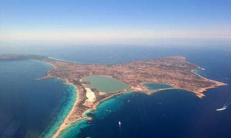 Aerial view of Formentera  Island near Ibiza
