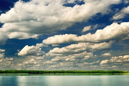 Beautiful lake with dramatic clouds  photo
