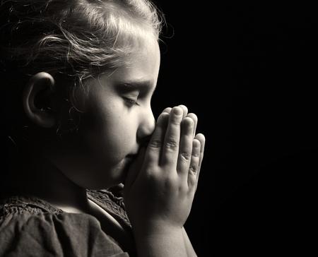black worship: Praying child.