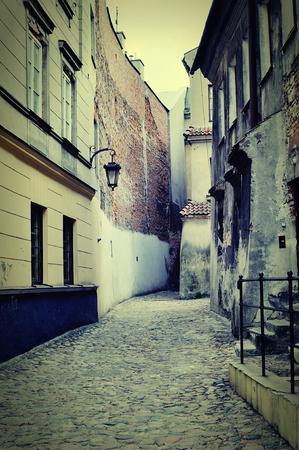 cobblestone street: Old street. Bydgoszcz in Poland.