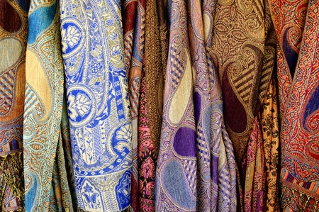 blue silk: Colorful scarves. Stock Photo