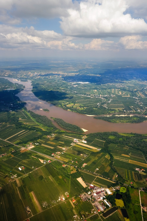 homesteads: Vistula River in Poland from the air. Stock Photo