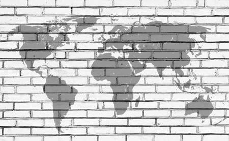hemisphere: World map on the background of brick