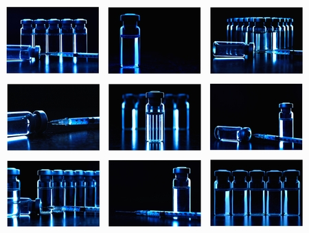 injected: Collage of many images with vials of medications. Dark blue.