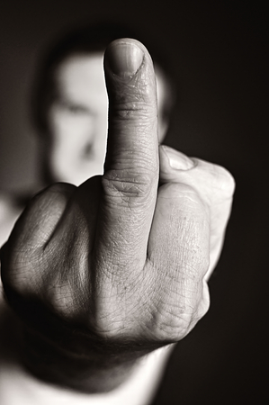 aggression: Middle finger as a sign of aggression