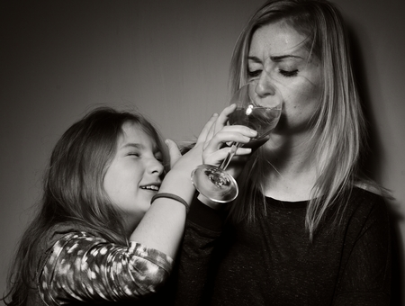 drunk girl: Child ask that mother stopped drinking alcohol.