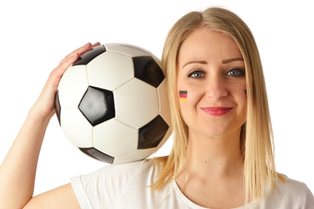 national colors: German soccer fan cheers football team in the national colors.