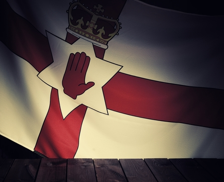 northern ireland: Flag of the Northern Ireland with wooden boards as a background. Vintage Style.