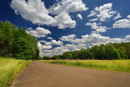 blue green landscape: Beautiful landscape. Green meadow with blue sky. Stock Photo