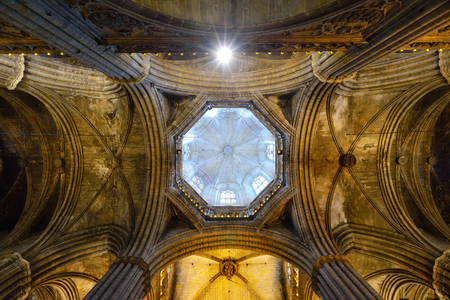 Cathedral of Saint Eulalia in Barcelona, Spain Editorial