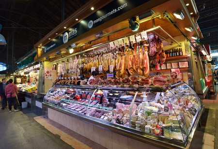 BARCELONA, SPAIN - NOVEMBER 11, 2016: The largest fresh food market in Barcelona. The first mention dates from 1217.