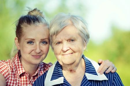 Senior and youg woman. Grandmother and granddaughter. Stock Photo