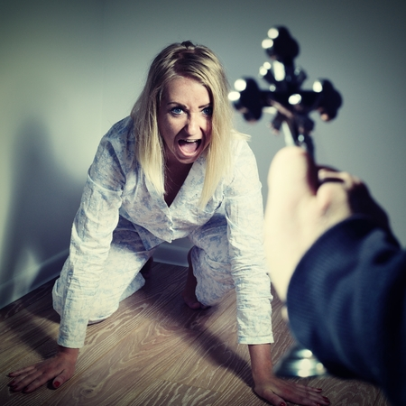 deranged: Casting out a demon from a woman through prayer. Exorcisms over deranged and crazy person.