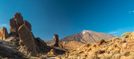 Roques de Garcia and El Teide Volcano on Tenerife Island, Spain Stock Photo
