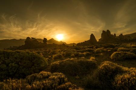 Roques de Garcia on sunset, Tenerife Island, Spain Stock Photo