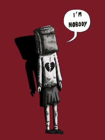 lonesome: vector hand drawn illustration of a girl in black and white with a paper bag on her head and saying i am nobody on a red background Illustration