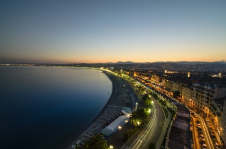 dazur: sunset at Bay of Nice, France, cote dazur - French Riviera