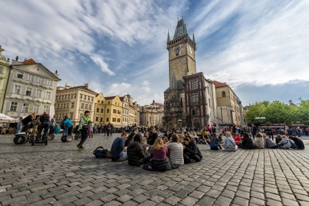 unrecognizable: Prague, Czech Republic - May 6, 2013 People spending time in One of the landmark and touristic attraction of Prague s old town hall