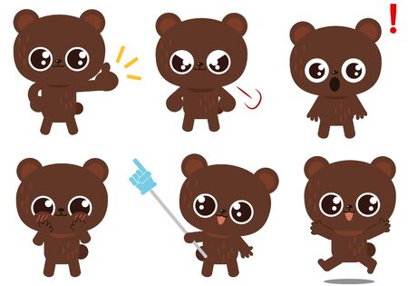 Bears facial expression and gesture illustration set