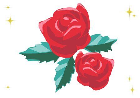 Vivid red rose illustration