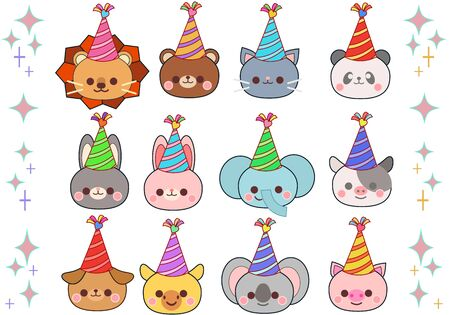 Animal illustration face set wearing a birthday hat