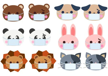 Animal face illustration set with a mask  イラスト・ベクター素材
