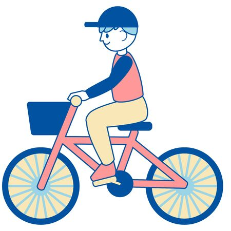 Boy's illustration on a bicycle