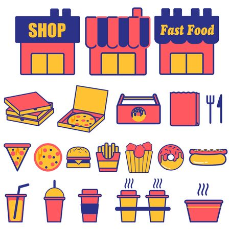 Fast Food Icon Illustration Set