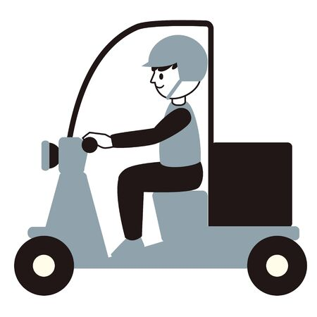 Illustration of a male delivery man on a scooter