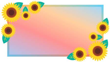 Sunflower flower square frame material  イラスト・ベクター素材