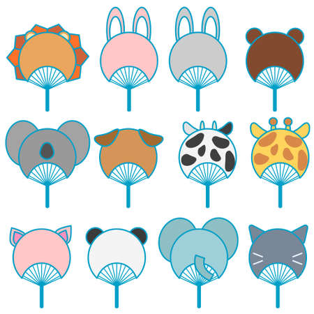 Animal type fan illustration set