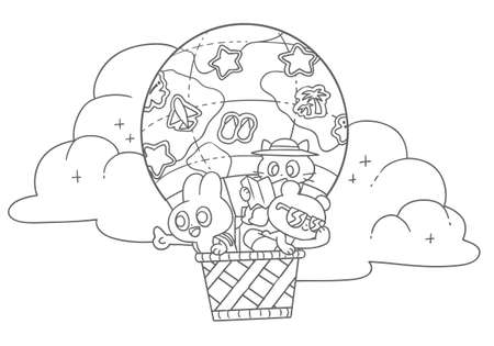 Coloring book illustration of a rabbit, a bear, and a cat in a balloon