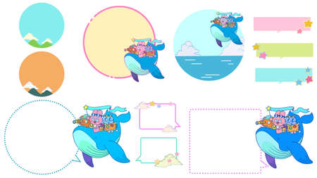 Frame material set of rabbit, cat and bear on a whale