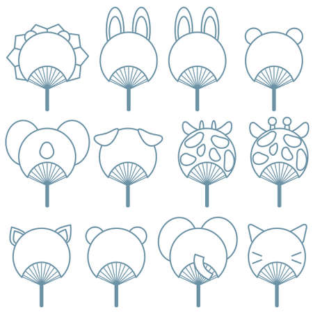 Animal type fan illustration set. Line drawing version.