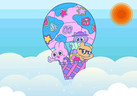 Rabbit, bear and cat background illustration in a balloon  イラスト・ベクター素材