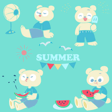 A hand-drawn illustration of a polar bear to enjoy summer
